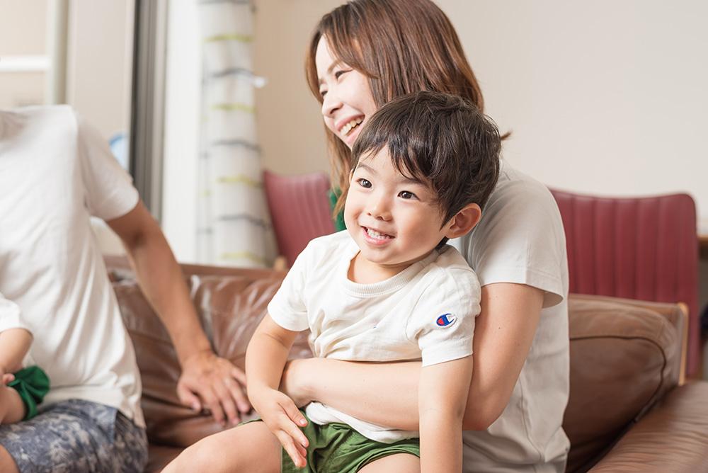 ママと男の子の写真