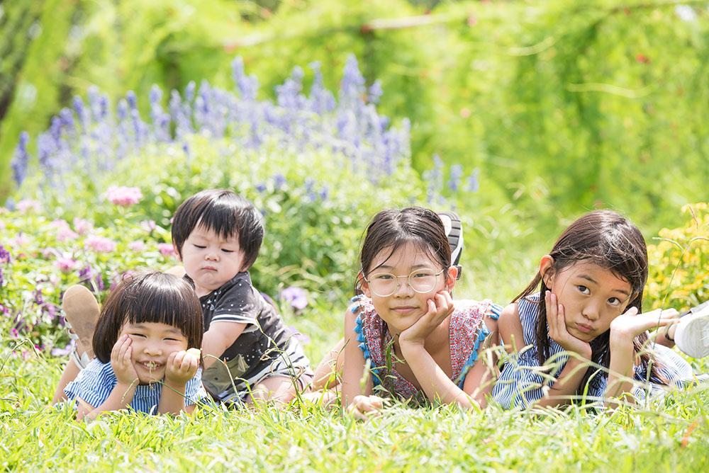 緑地公園での子供ちゃんを写真撮影
